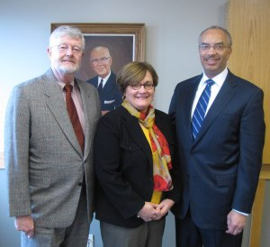 New York State Bar President-Elect David M. Schraver, MCBA Executive Director Mary Loewenguth and New York State Bar President Seymour W. James, Jr.
