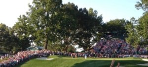 This is PGA winner Jason Dufner making his winning putt. Look close, he is the turquoise dot in the middle.