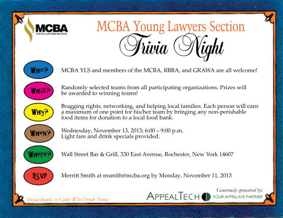2013 Young Lawyer Section Trivia Night (Trivia Card)