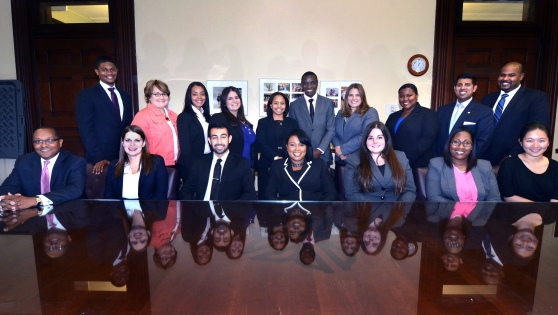 Clerkship students and Mayor Warren