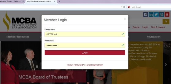Homepage with login